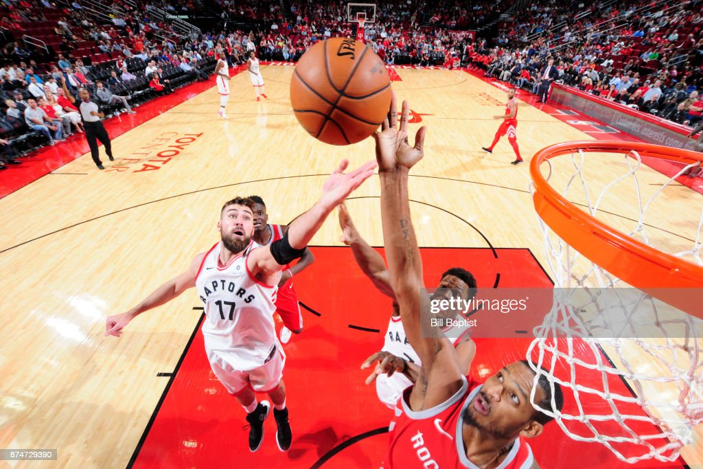 Jonas Valanciunas #17 of the Toronto Raptors reaches for the rebound during the game against the Houston Rockets on November 14, 2017 at the Toyota Center in Houston, Texas.