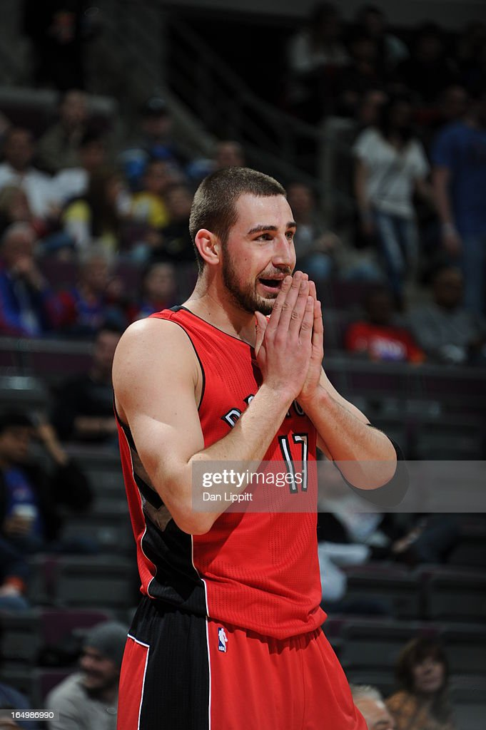 Jonas Valanciunas #17 of the Toronto Raptors reacts during the game between the Detroit Pistons and the Toronto Raptors on March 29, 2013 at The Palace of Auburn Hills in Auburn Hills, Michigan.