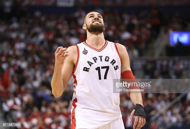 Jonas Valanciunas of the Toronto Raptors reacts during their game against the Indiana Pacers in Game One of the Eastern Conference Quarterfinals...