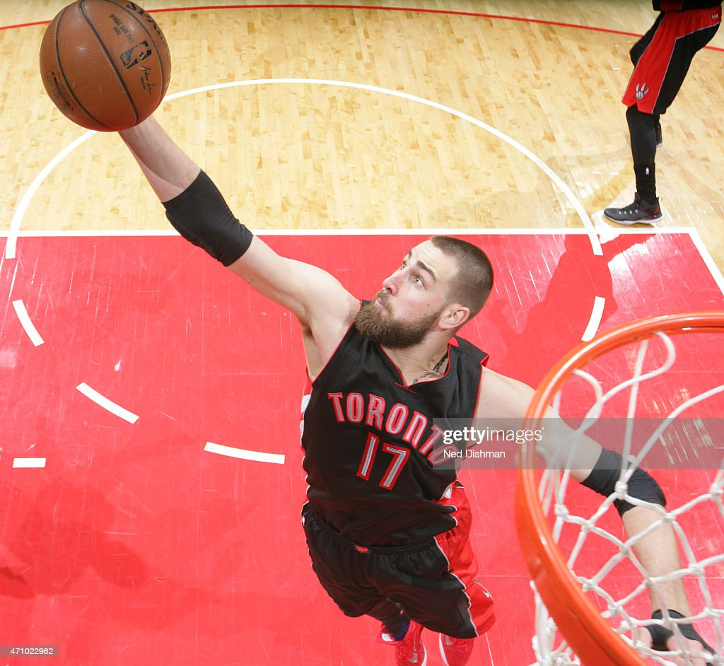 Jonas Valanciunas #17 of the Toronto Raptors rebounds against the Washington Wizards in Game Three of the Eastern Conference Quarterfinals during the 2015 NBA Playoffs on April 24, 2015 at Verizon Center in Washington, DC.