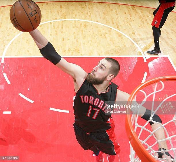 Jonas Valanciunas of the Toronto Raptors rebounds against the Washington Wizards in Game Three of the Eastern Conference Quarterfinals during the...