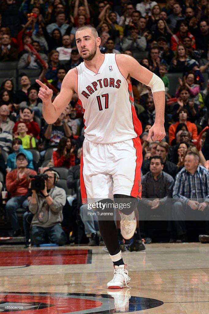 Jonas Valanciunas #17 of the Toronto Raptors runs down the court against the Orlando Magic on January 29, 2014 at the Air Canada Centre in Toronto, Ontario, Canada.