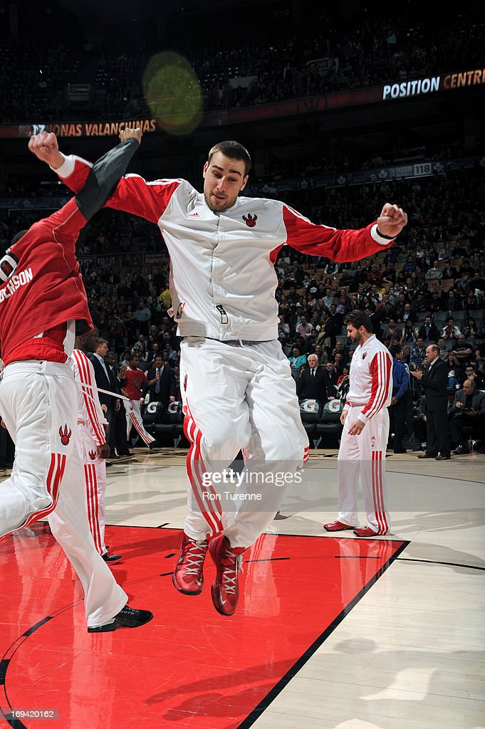 <a gi-track='captionPersonalityLinkClicked' href=/galleries/search?phrase=Jonas+Valanciunas&family=editorial&specificpeople=5654195 ng-click='$event.stopPropagation()'>Jonas Valanciunas</a> #17 of the Toronto Raptors runs out before the game against the Boston Celtics on April 17, 2013 at the Air Canada Centre in Toronto, Ontario, Canada.