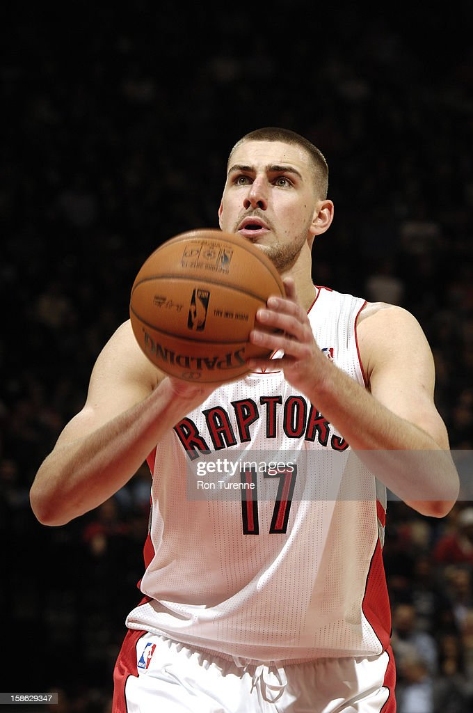 Jonas Valanciunas #17 of the Toronto Raptors shoots a free throw against the Brooklyn Nets on December 12, 2012 at the Air Canada Centre in Toronto, Ontario, Canada.
