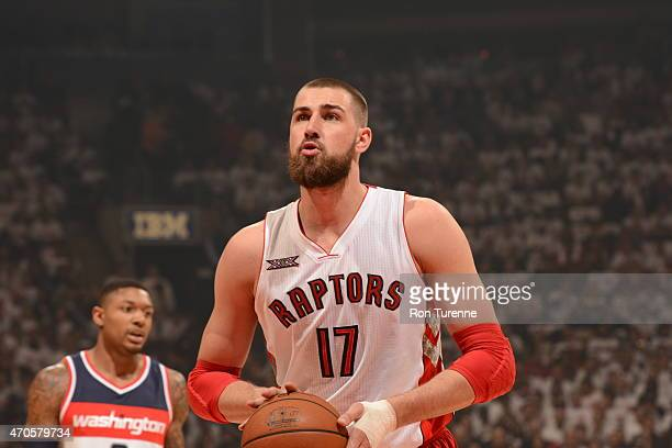 Jonas Valanciunas of the Toronto Raptors shoots a free throw against the Washington Wizards in Game Two of the Eastern Conference Quarterfinals...