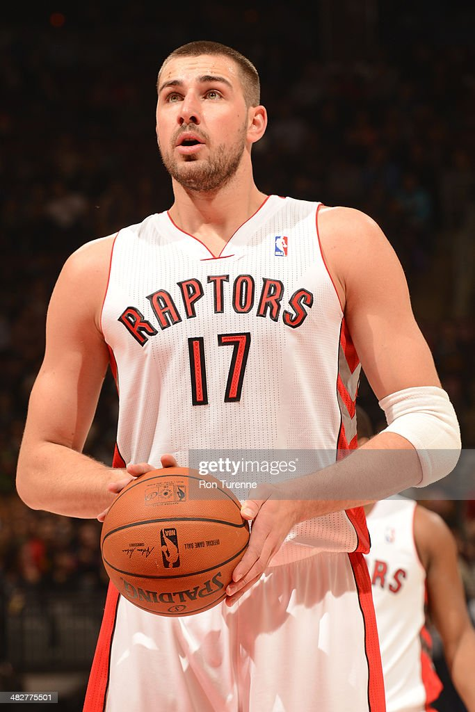 <a gi-track='captionPersonalityLinkClicked' href=/galleries/search?phrase=Jonas+Valanciunas&family=editorial&specificpeople=5654195 ng-click='$event.stopPropagation()'>Jonas Valanciunas</a> #17 of the Toronto Raptors shoots a free throw during the game against the Boston Celtics on March 28, 2014 at the Air Canada Centre in Toronto, Ontario, Canada.