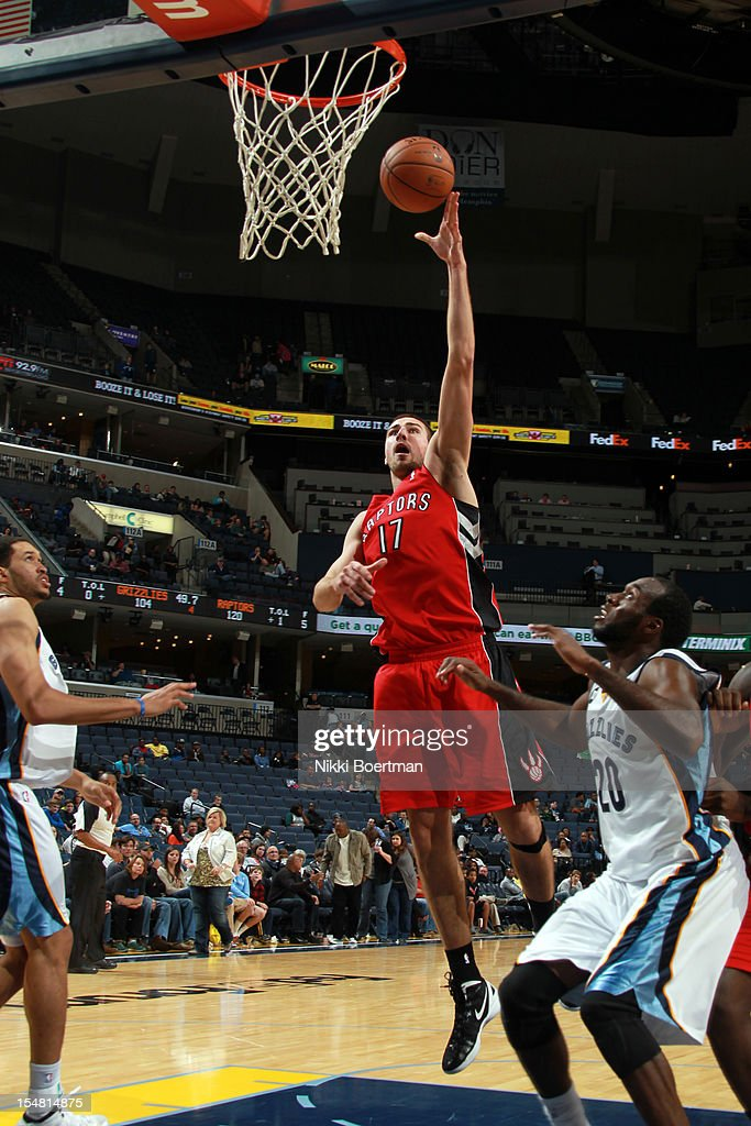 <a gi-track='captionPersonalityLinkClicked' href=/galleries/search?phrase=Jonas+Valanciunas&family=editorial&specificpeople=5654195 ng-click='$event.stopPropagation()'>Jonas Valanciunas</a> #17 of the Toronto Raptors shoots against the Memphis Grizzlies on October 26, 2012 at FedExForum in Memphis, Tennessee.