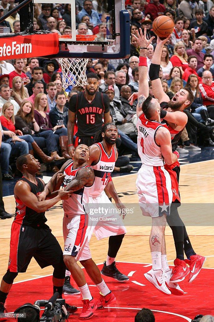 Jonas Valanciunas #17 of the Toronto Raptors shoots against the Washington Wizards on January 31, 2015 at Verizon Center in Washington, DC.
