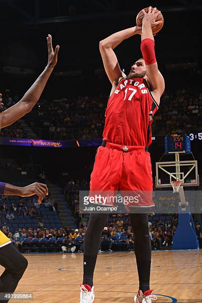 Jonas Valanciunas of the Toronto Raptors shoots the ball against the Los Angeles Lakers during a preseason game on October 08 2015 at Citizens Bank...