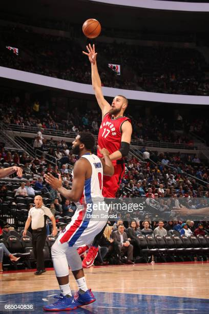 Jonas Valanciunas of the Toronto Raptors shoots the ball against the Detroit Pistons on April 5 2017 at The Palace of Auburn Hills in Auburn Hills...