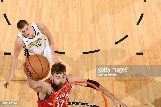 Jonas Valanciunas of the Toronto Raptors shoots the ball against the Denver Nuggets on November 1 2017 at the Pepsi Center in Denver Colorado NOTE TO...