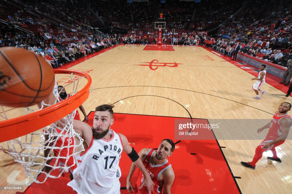 Jonas Valanciunas #17 of the Toronto Raptors shoots the ball against the Houston Rockets on November 14, 2017 at the Toyota Center in Houston, Texas.