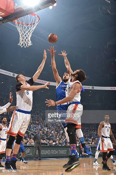 Jonas Valanciunas of the Toronto Raptors shoots the ball during a game against the New York Knicks shoots the ball during a game on November 12 2016...