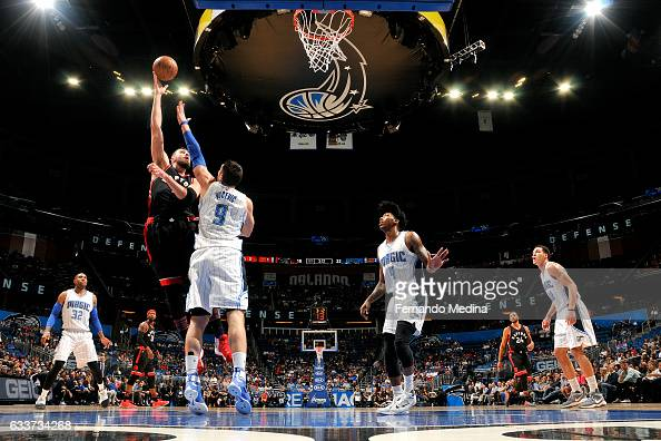 Jonas Valanciunas of the Toronto Raptors shoots the ball during the game against the Orlando Magic on February 3 2017 at Amway Center in Orlando...
