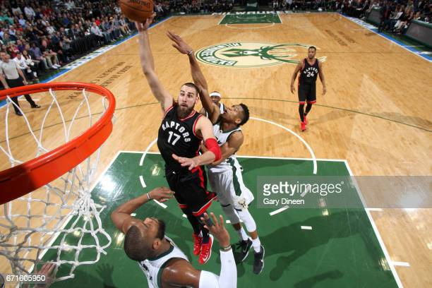 Jonas Valanciunas of the Toronto Raptors shoots the ball during the game against the Milwaukee Bucks in Game Four during the Eastern Conference...