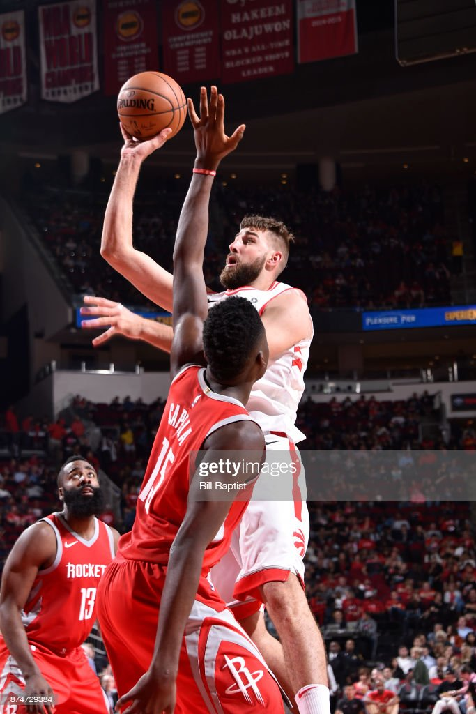 Jonas Valanciunas #17 of the Toronto Raptors shoots the ball during the game against the Houston Rockets on November 14, 2017 at the Toyota Center in Houston, Texas.