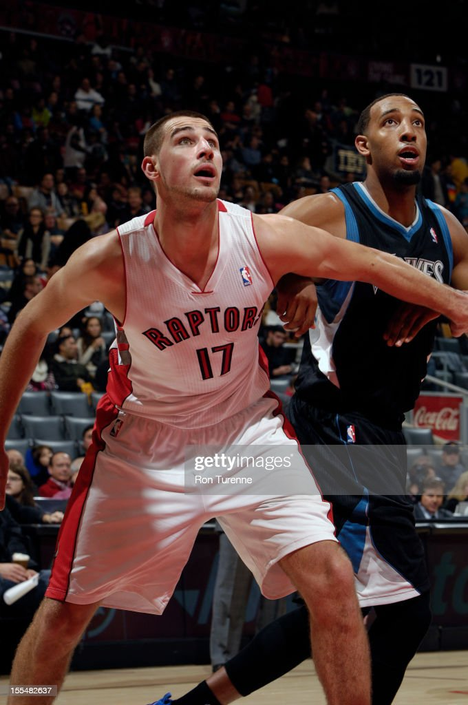 Jonas Valanciunas #17 of the Toronto Raptors trys to grab a rebound vs the Minnesota Timberwolves during the game on November 4, 2012 at the Air Canada Centre in Toronto, Ontario, Canada.