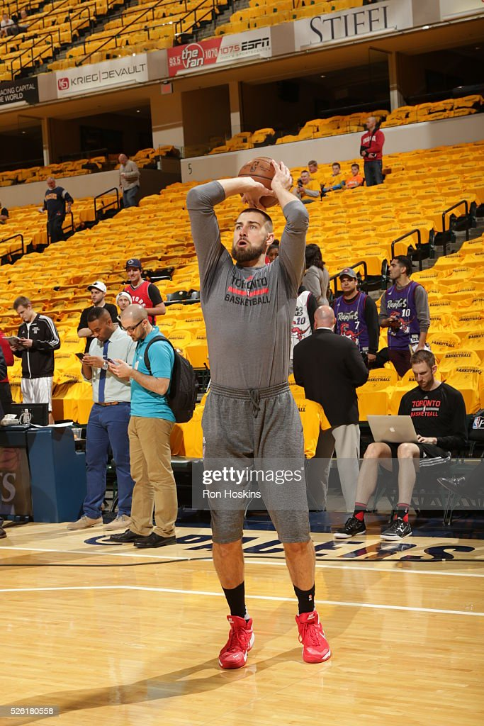 Jonas Valanciunas #17 of the Toronto Raptors warms up before the game against the Indiana Pacers in Game Six of the Eastern Conference Quarterfinals during the 2016 NBA Playoffs on April 29, 2016 at Bankers Life Fieldhouse in Indianapolis, Indiana.