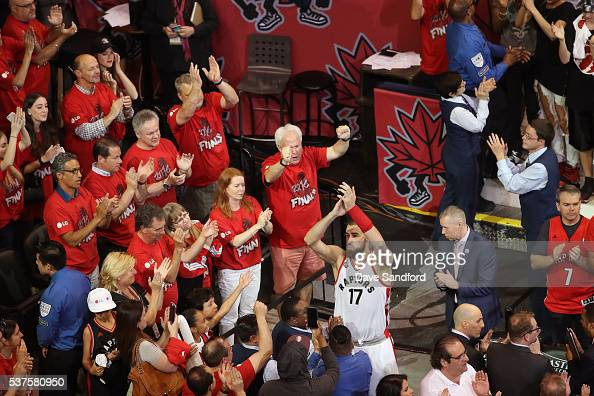 Jonas Valanciunas of the Toronto Raptors waves to the fans after Game Six of the NBA Eastern Conference Finals against the Cleveland Cavaliers at Air...