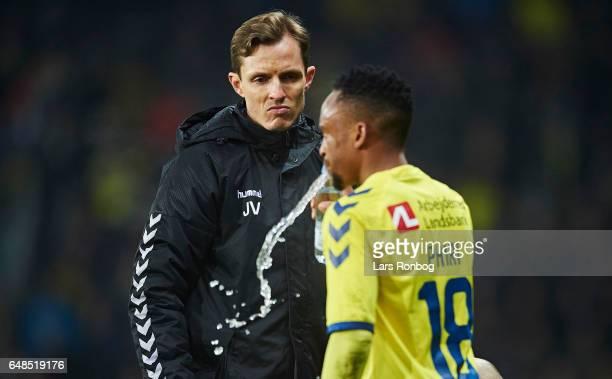 Jonas Vestergard Iversen team doctor of Brondby IF in treatment of Lebogang Phiri of Brondby IF during the Danish Alka Superliga match between...