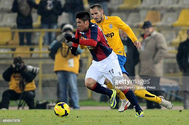 Jonatan Cristaldo of Bologna FC in action during the Serie A match between Bologna FC and Juventus at Stadio Renato Dall'Ara on December 6 2013 in...