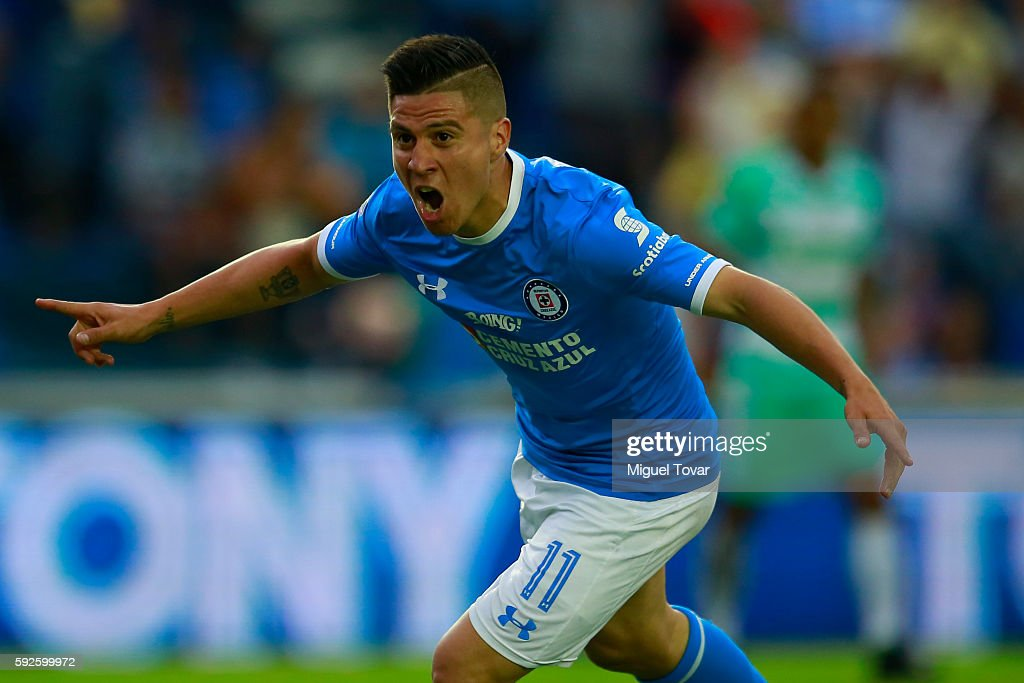 Jonathan Cristaldo of Cruz Azul celebrates after scoring during the 6th round match between Cruz Azul and Santos Laguna as part of the Torneo...