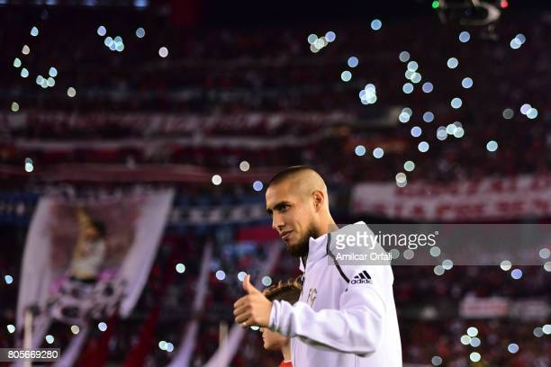 Jonatan Maidana of River Plate walks onto the field prior Fernando Cavenaghi's farewell match at Monumental Stadium on July 01 2017 in Buenos Aires...