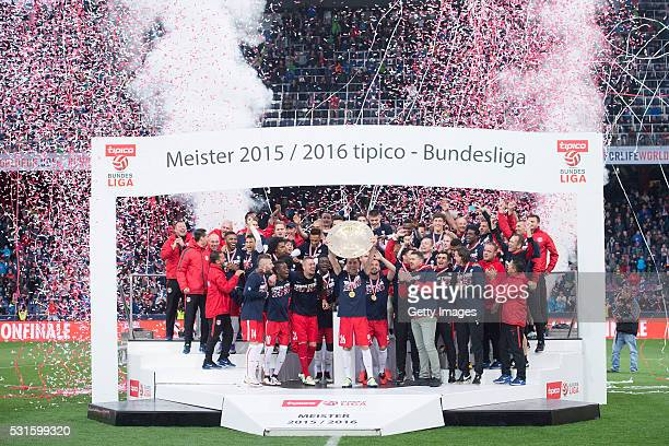 Jonatan Soriano celebrates with the trophy and his teammates for winning the Austrian Soccer Championship 2015/2016 after the tipico Bundesliga match...