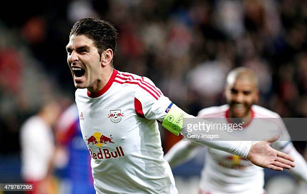 Jonatan Soriano of FC Salzburg celebrates after the first goal during the UEFA Europa League Round of 16 match between FC Salzburg and FC Basel 1893...