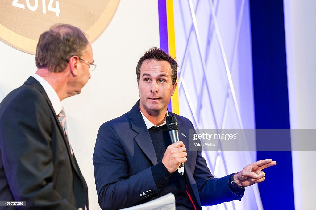 Jonathan Agnew talks to Michael Vaughan at the NatWest OSCAs at Lords on October 6 2014 in London England