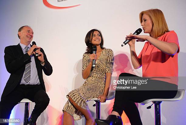 Jonathan Agnew talks with Lucy Verasamy and SarahJane Mee during the NatWest OSCA's 2013 at Lords on September 30 2013 in London England
