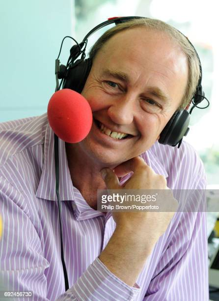 Jonathan Agnew the BBC cricket correspondent and ex England international cricketer conducting an interview for the 'Test Match Special' radio...