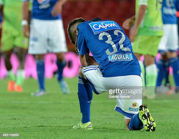 Jonathan Agudel of Millonarios prays after a match between Millonarios and Jaguares FC as part of round 16 of Liga Aguila II 2015 at Nemesio Camacho...