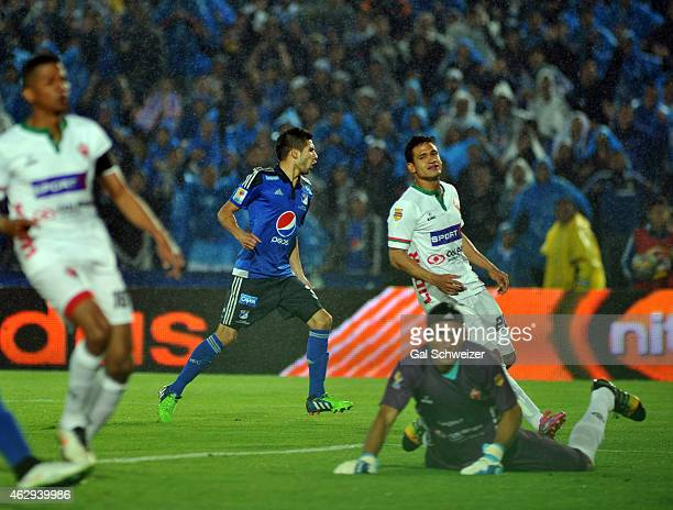 Jonathan Agudelo of Millonarios celebrates after scoring his first goal during a match between Millonarios and Patriotas FC as part of second round...