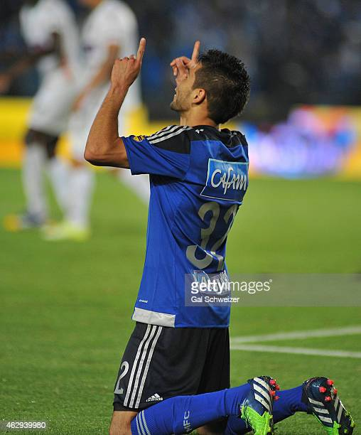 Jonathan Agudelo of Millonarios celebrates after scoring his second goal during a match between Millonarios and Patriotas FC as part of second round...