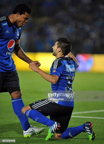 Jonathan Agudelo of Millonarios celebrates after scoring the second goal of his team during a match between Millonarios and Patriotas FC as part of...