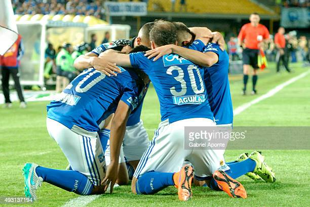 Jonathan Agudelo of Millonarios celebrates with his teammates after scoring the second goal of his team during a match between Millonarios and...