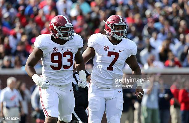 Jonathan Allen and Ryan Anderson of the Alabama Crimson Tide look on against the Ole Miss Rebels on October 4 2014 at VaughtHemingway Stadium in...