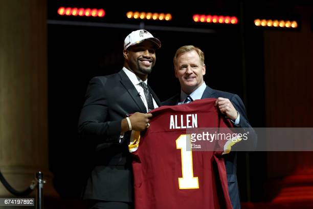 Jonathan Allen of Alabama poses with Commissioner of the National Football League Roger Goodell after being picked overall by the Washington Redskins...