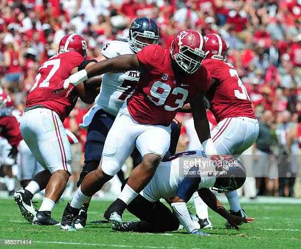 Jonathan Allen of the Alabama Crimson Tide rushes the passer against the Florida Atlantc Owls on September 6 2014 at BryantDenny Stadium in...