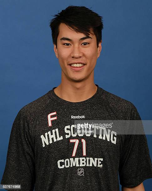 Jonathan Ang poses for a headshot at the 2016 NHL Combine on June 2 2016 at Harborcenter in Buffalo New York