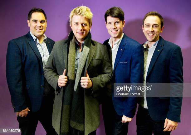 Jonathan Ansell Ben Thapa Mike Christie and Nick Ashby of G4 with surprise guest Merrill Osmond pose backstage before performing and signing copies...