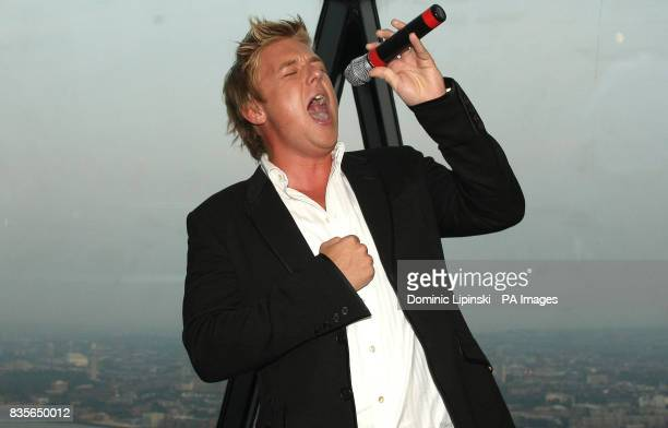 Jonathan Ansell performs at the Richard BalfourLynn's AHG AND MWB Group and Variety Club Children's Charity Party held at the top of the Swiss Re...