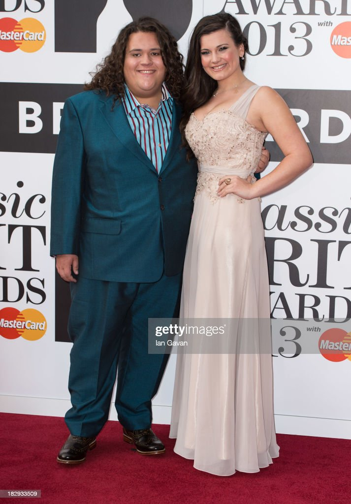 Jonathan Antoine and Charlotte Jaconelli attend the Classic BRIT Awards 2013 at the Royal Albert Hall on October 2, 2013 in London, England.