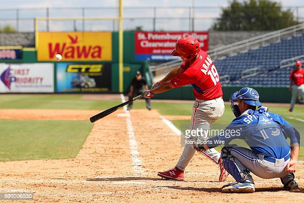 Jonathan Arauz of the Phillies during the Florida Instructional League game between the FIL Blue Jays and the FIL Phillies at Bright House Field in...