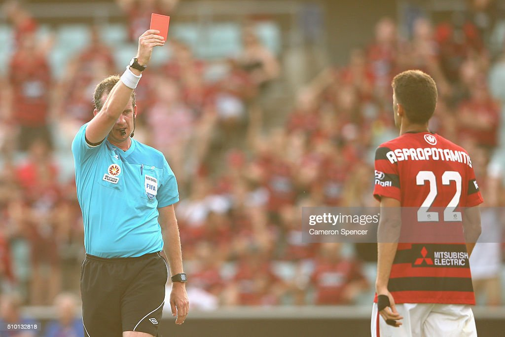 Jonathan Aspropotamitis of the Wanderers receives a red card during the round 19 A-League match between the Western Sydney Wanderers and the Wellington Phoenix at Pirtek Stadium on February 14, 2016 in Sydney, Australia.