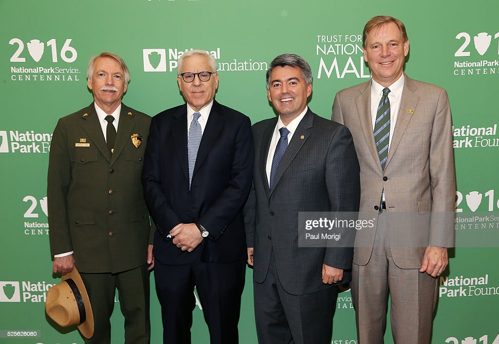 Jonathan B. Jarvis, Director, National Park Service, David Rubenstein, Co-Founder and Co-Chief Executive Officer, The Carlyle Group, Sen. Cory Gardner (R-CO) and President of the National Park Foundation Will Shafroth attend the Trust for the National Mall's Ninth Annual Benefit Luncheon in West Potomac Park on April 28, 2016 in Washington, DC.