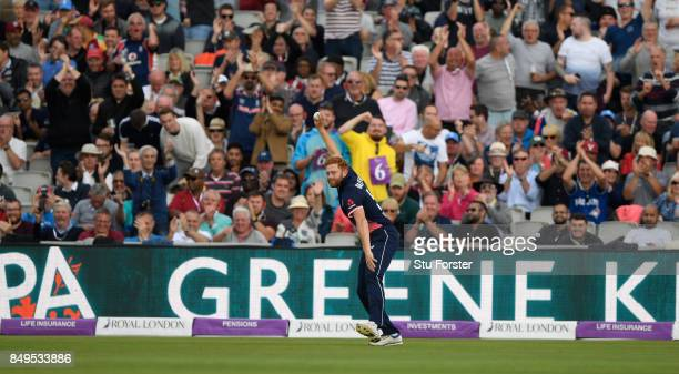 Jonathan Bairstow celebrates after catching out Shai Hope during the 1st Royal London One Day International match between England and West Indies at...