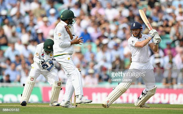 Jonathan Bairstow of England bats during day one of the 4th Investec Test between England and Pakistan at The Kia Oval on August 11 2016 in London...