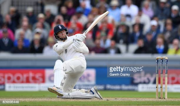 Jonathan Bairstow of England bats during day two of the 4th Investec Test between England and South Africa at Old Trafford on August 5 2017 in...
